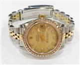 ROLEX 69173 STAINLESS & 18K OYSTER PERPETUAL WITH DIAMOND BEZEL AND DIAL